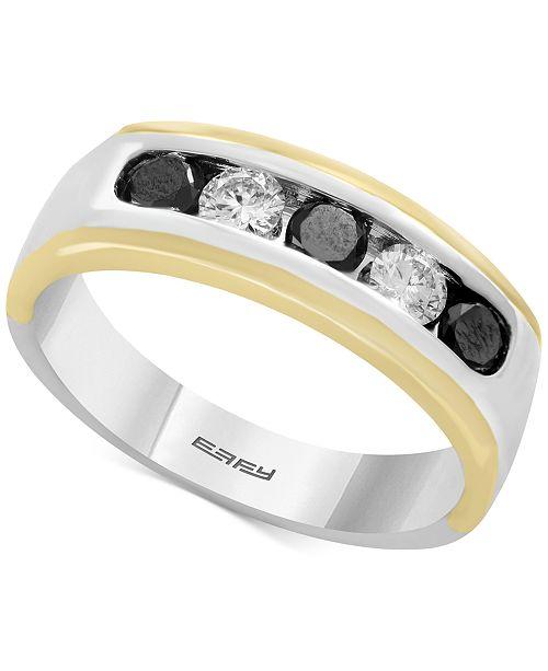 EFFY® Men's Diamond (1 ct. t.w.) Ring in 14k Gold & White Gold