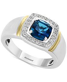 EFFY® Men's London Blue Topaz (1-5/8) & Diamond (1/6 ct. t.w.) Ring in Sterling Silver and 14k Gold