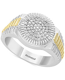 EFFY® Men's Diamond Two-Tone Ring (1/4 ct. t.w.) in Sterling Silver & 14k Gold