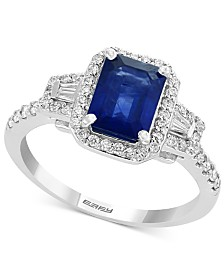 Gemstone Bridal by EFFY® Sapphire (1-1/2 ct. t.w.) & Diamond (3/8 ct. t.w.) Engagement Ring in 18k White Gold