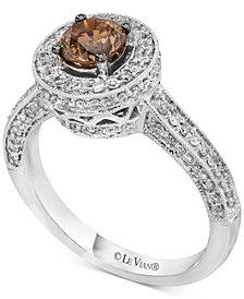 Le Vian Chocolatier® Diamond Halo Ring (1-1/8 ct. t.w.) in 14k White Gold