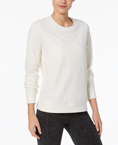 Calvin Klein Performance Logo Velour Top
