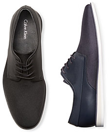 Calvin Klein Men's Kellen Black Ballistic Nylon Oxfords