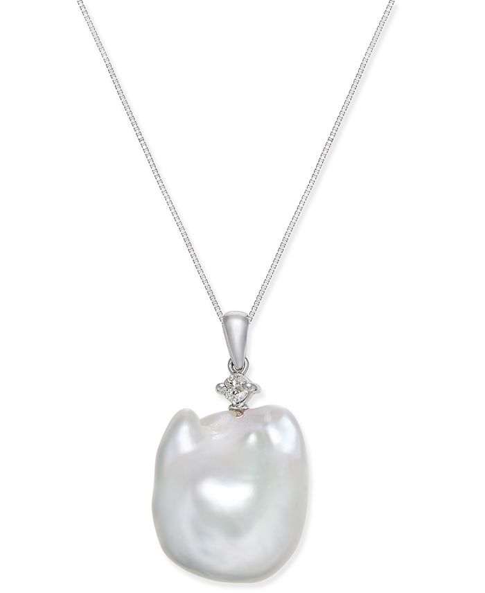 Macy's - Cultured White Baroque Freshwater Pearl (16mm) and Diamond (1/10 ct. t.w.) Pendant Necklace in 14k White Gold