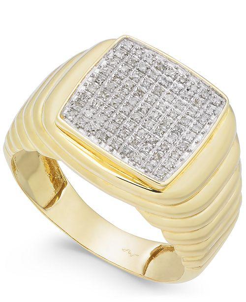Macy's Men's Diamond Cluster Ring (1/4 ct. t.w.) in 10k Gold