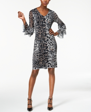 Love Scarlett Petite Printed Tiered-Sleeve Dress, Created for Macy's