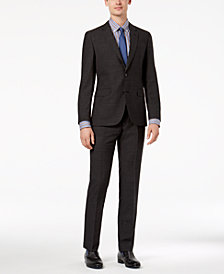 HUGO Men's Slim-Fit Charcoal Textured Suit