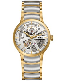 Rado Men's Swiss Automatic Centrix Two-Tone PVD Stainless Steel Bracelet Watch 38mm