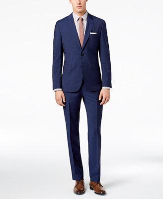Hugo Men's Slim Fit Navy/Light Blue Plaid Suit by Hugo Boss