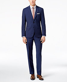 HUGO Men's Slim-Fit Navy/Light Blue Plaid Suit