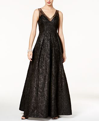 Adrianna Papell Sequined Jacquard Gown Dresses Women Macy S