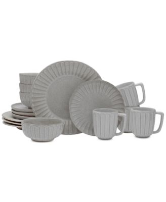 Monterey Gray 16-Piece Dinnerware Set, Service for 4