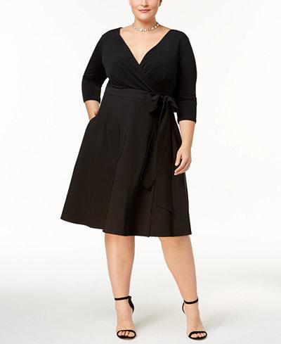 Sangria Plus Size Fit & Flare Wrap Dress