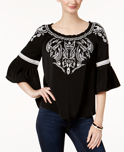 Charter Club Embroidered Peasant Top, Created for Macy's