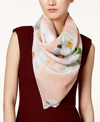 Calvin Klein Floral-Print Pleated Scarf