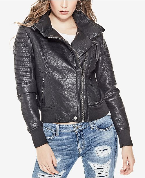 3230c4da GUESS Evelyn Faux-Leather Moto Jacket & Reviews - Jackets ...