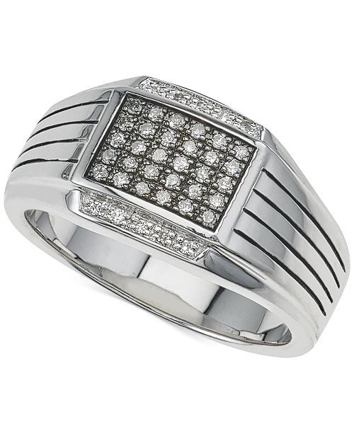 Esquire Men's Jewelry Diamond Ring (1/4 ct. t.w.) in Sterling Silver, Created for Macy's