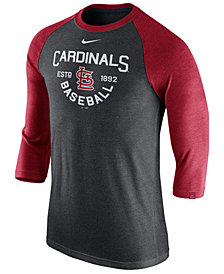 Nike Men's St. Louis Cardinals Triblend Three-Quarter Raglan T-Shirt
