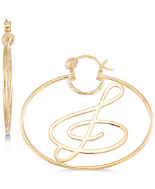 Simone I. Smith Treble Clef Hoop Earrings in 14k Gold over Sterling Silver