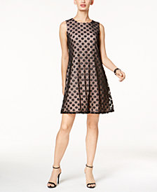 Nine West Metallic-Dot Shift Dress