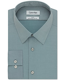 Calvin Klein Steel Men's Slim Fit Non Iron Performance Herringbone Point Collar Dress Shirt