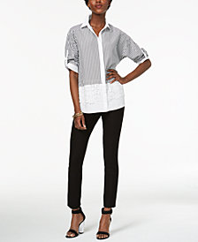 NY Collection Striped Crochet-Trim Shirt & ECI Straight-Leg Pants