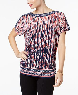 637dd2adc8bcae JM Collection Printed Boat-Neck Top, Created for Macy's - Tops - Women -  Macy's