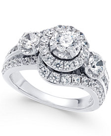 Diamond Swirl Halo Engagement Ring (2 ct. t.w.) in 14k White Gold