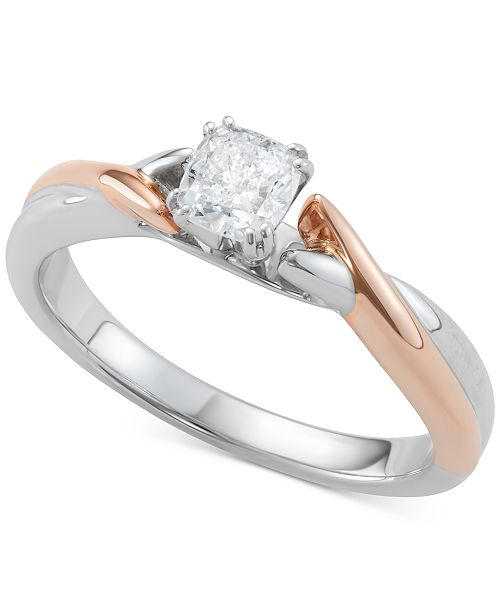 Diamond Cushion Cut Two Tone Solitaire Engagement Ring 1 2 Ct T W In 14k White Gold Rose Gold