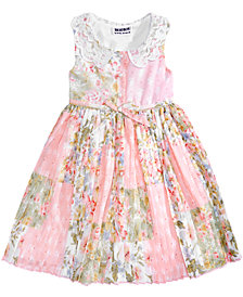 Blueberi Boulevard Floral-Print Pleated Dress, Baby Girls