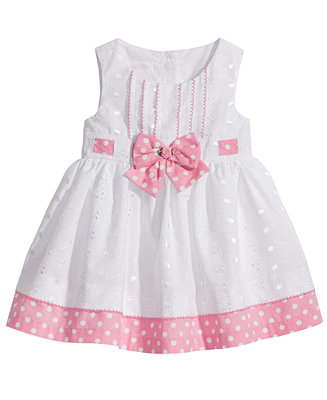 Bonnie Baby Eyelet Amp Dot Print Dress Baby Girls Dresses