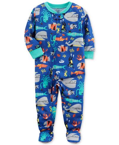 Carter's Fish-Print Footed Pajamas, Baby Boys