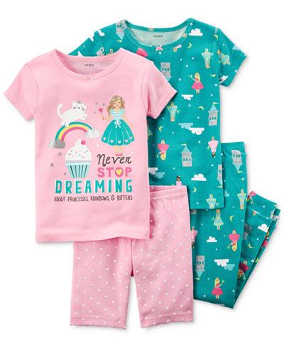 Carter's 4-Pc. Dreamy Printed Cotton Pajama Set, Baby Girls