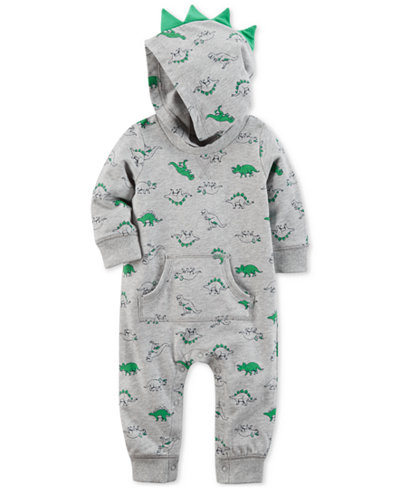 Carter's Cotton Hooded Dinosaur-Print Spike Coverall, Baby Boys