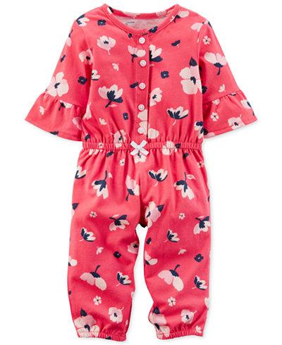 Carter's Floral-Print Cotton Jumpsuit, Baby Girls