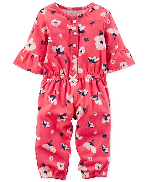 626835c89 Carter's Floral-Print Cotton Jumpsuit, Baby Girls & Reviews - All ...