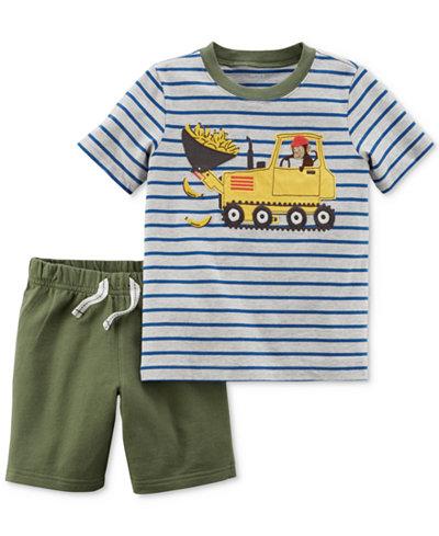 Carter's 2-Pc. Graphic-Print Cotton T-Shirt & Shorts Set, Baby Boys