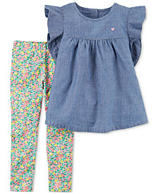 Carter's 2-Pc. Chambray Peplum Tunic & Floral-Print Leggings Set, Baby Girls