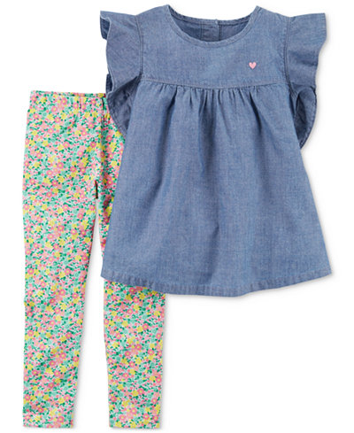 Carter's 2-Pc. Chambray Peplum Tunic & Floral-Print Leggings Set, Baby Girls