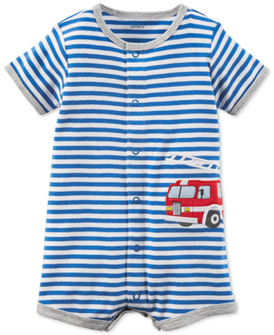 Carter's Striped Firetruck Cotton Romper, Baby Boys