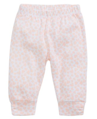 Heart-Print Ruched Cotton Jogger Pants, Baby Girls, Created for Macy's
