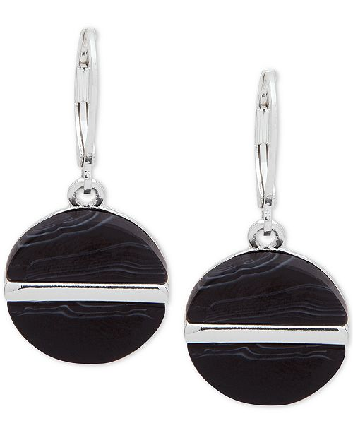 Nine West Silver-Tone Colored Disc Drop Earrings