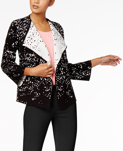 Alfani Petite Contrast Open-Front Sweater Blazer, Created for Macy's