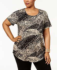 JM Collection Plus Size Printed T-Shirt, Created for Macy's