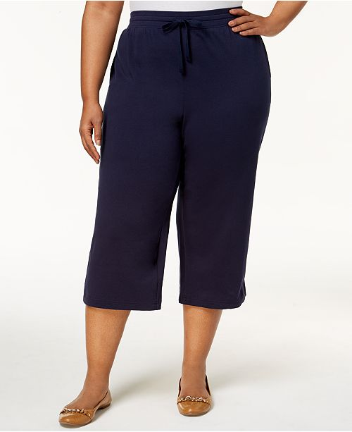 fdf9f95bedf ... Karen Scott Plus Size Knit Capri Pants