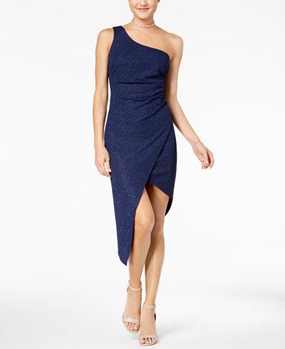 B Darlin Juniors' Glitter Ruched One-Shoulder Dress