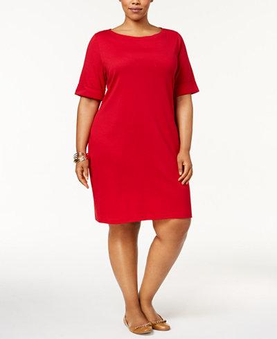 Karen Scott Plus Size Elbow-Sleeve T-Shirt Dress, Created for ...