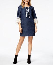 kensie Lace-Trim Chambray Shirtdress