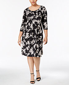NY Collection Plus Size Floral-Print Dress