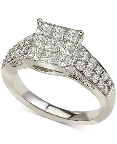 Diamond Square Cluster Engagement Ring (1-1/2 ct. t.w.) in 14k White Gold